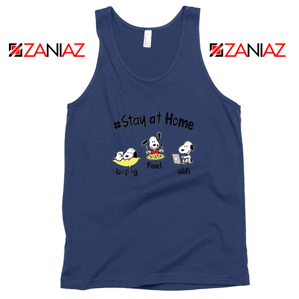 Snoopy Stay Home Navy Blue Tank Top