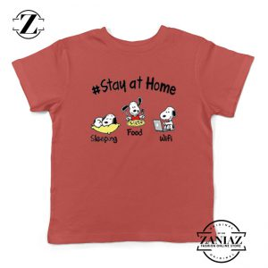Snoopy Stay Home Red Kids Tshirt