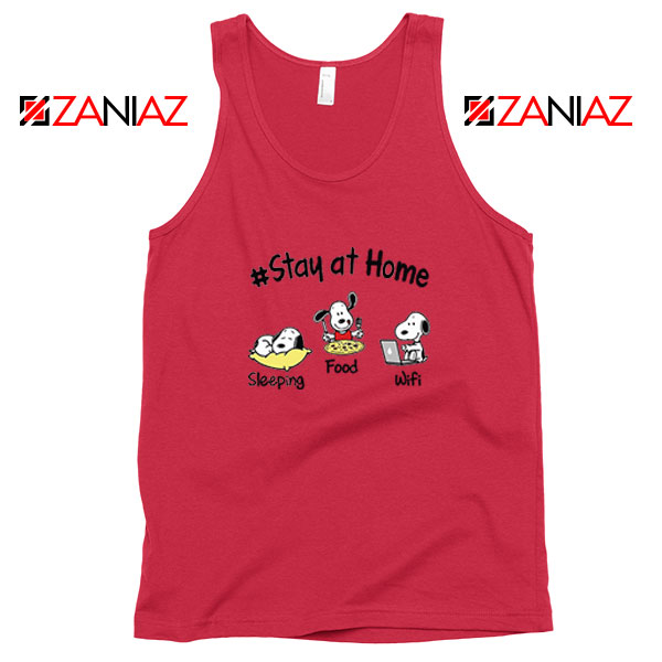 Snoopy Stay Home Red Tank Top