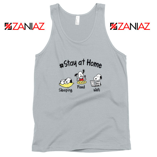 Snoopy Stay Home Sport Grey Tank Top