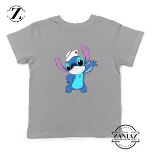 Stitch Nurse Sport Grey Kids Tshirt