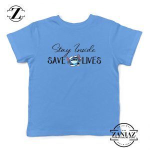 Stitch Social Distancing Light Blue Youth Tshirt