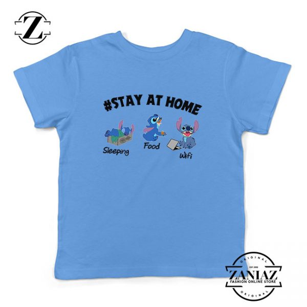 Stitch Stay At Home Light Blue Kids Tshirt