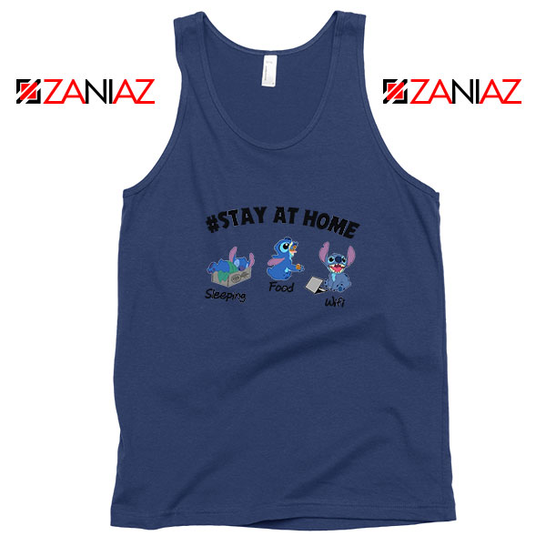 Stitch Stay At Home Navy Blue Tank Top
