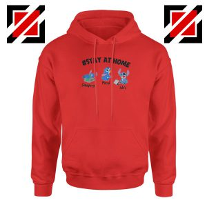 Stitch Stay At Home Red Hoodie