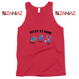 Stitch Stay At Home Red Tank Top