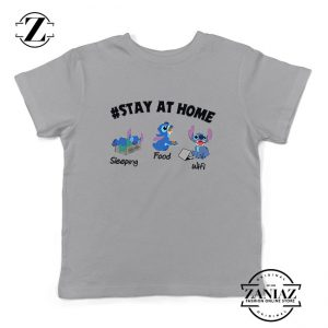 Stitch Stay At Home Sport Grey Kids Tshirt