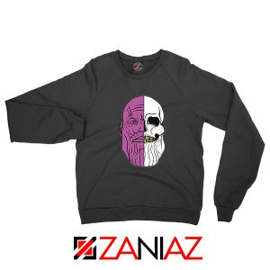 Thanos Face Half Skull Black Sweatshirt