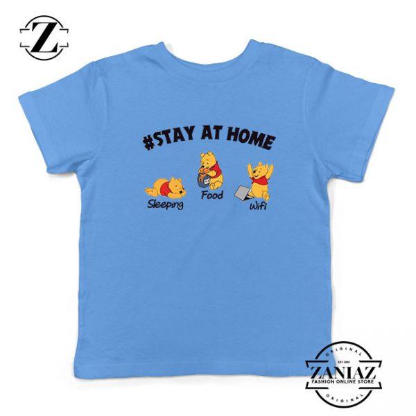 The Pooh Stay Home Light Blue Kids Tshirt