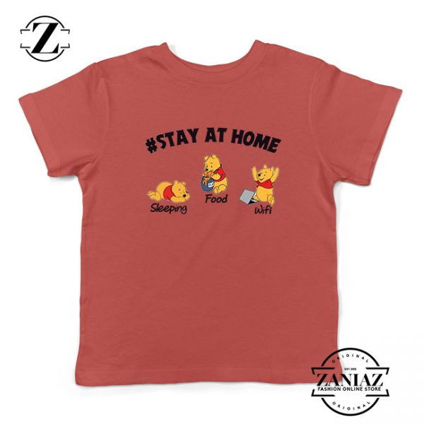 The Pooh Stay Home Red Kids Tshirt