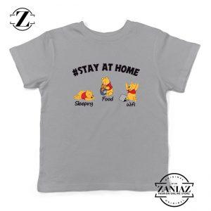 The Pooh Stay Home Sport Grey Kids Tshirt