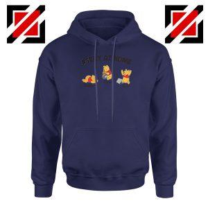 Winnie The Pooh Stay Home Navy Blue Hoodie