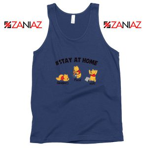 Winnie The Pooh Stay Home Navy Blue Tank Top
