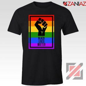BLM Fist Rainbow Black Tshirt
