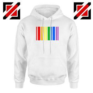 Rainbow Barcode White Hoodie