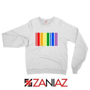 Rainbow Barcode White Sweatshirt
