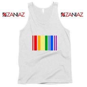 Rainbow Barcode White Tank Top