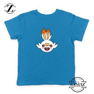 Scorbunny Rabbit Pokemon Kids Blue Tshirt