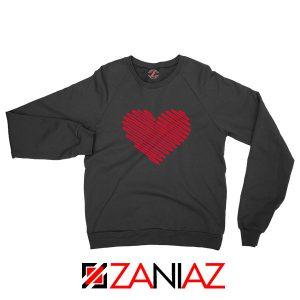 Red Heart Diagonal Black Sweatshirt