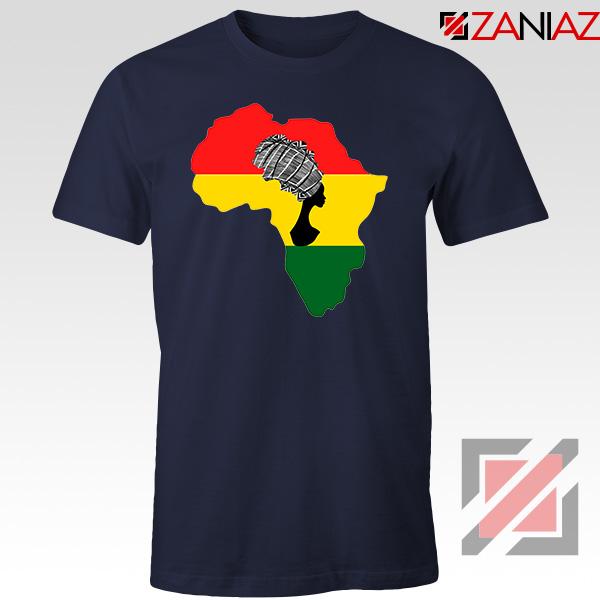 African Black Women Navy Blue Tshirt