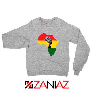 African Black Women Sport Grey Sweatshirt