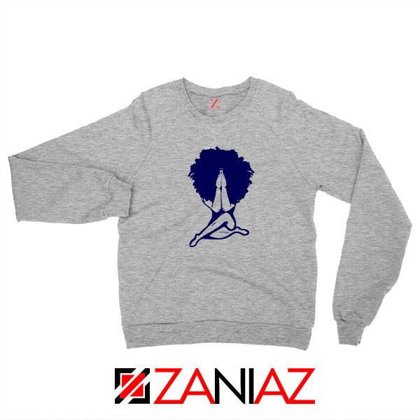 Afro Woman Praying Sport Grey Sweatshirt