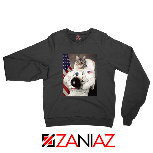Astronaut Cat Black Sweatshirt