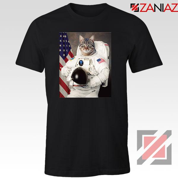 Astronaut Cat Black Tshirt