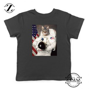 Astronaut Cat Kids Black Tshirt