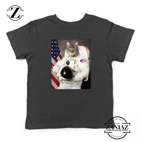 Astronaut Cat Kids Black Tshirt