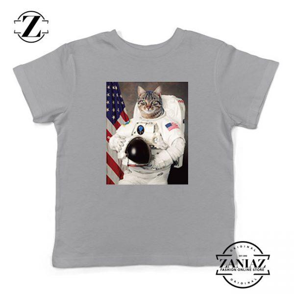 Astronaut Cat Kids Grey Tshirt