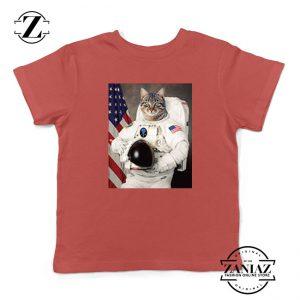 Astronaut Cat Kids Red Tshirt