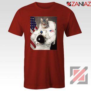 Astronaut Cat Red Tshirt