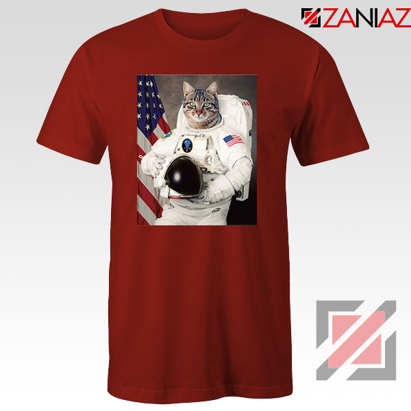 Astronaut Cat Red Tshirt