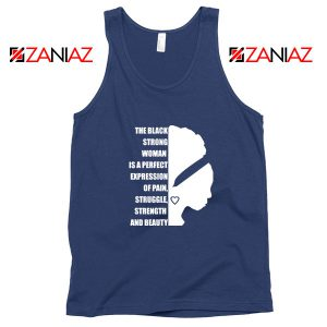 Black Strong Woman Navy Blue Tank Top