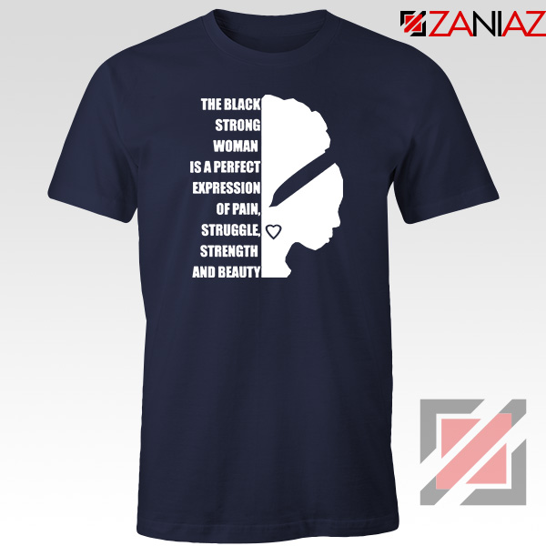 Black Strong Woman Navy Blue Tshirt