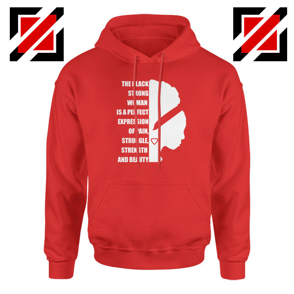 Black Strong Woman Red Hoodie