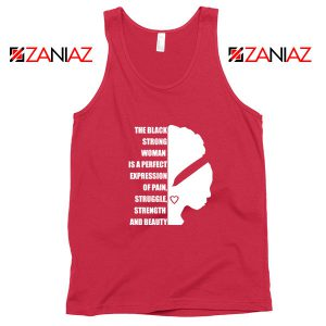 Black Strong Woman Red Tank Top