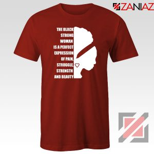 Black Strong Woman Red Tshirt