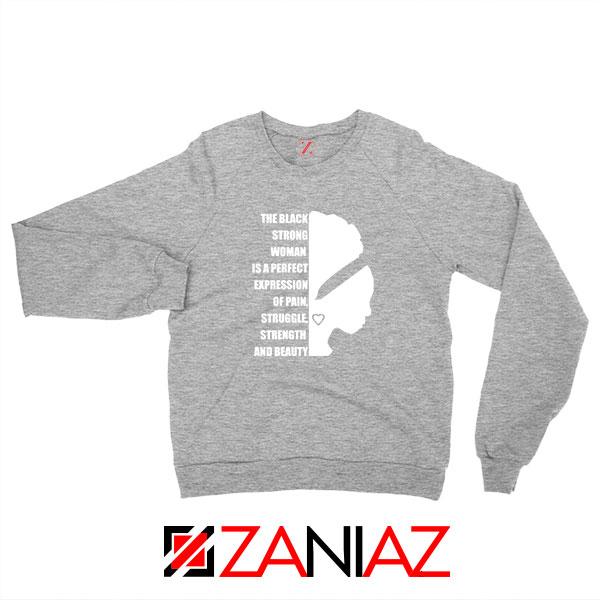 Black Strong Woman Sport Grey Sweatshirt
