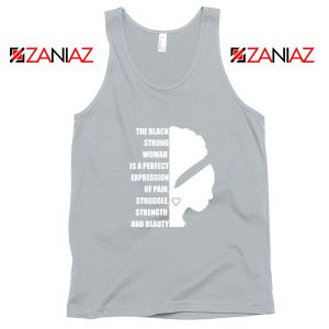 Black Strong Woman Sport Grey Tank Top