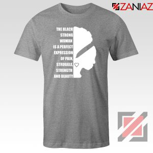 Black Strong Woman Sport Grey Tshirt