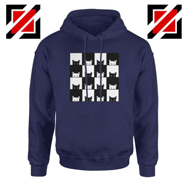 Black White Kittens Navy Blue Hoodie