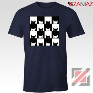 Black White Kittens Navy Blue Tshirt