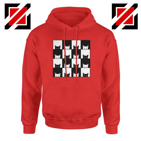 Black White Kittens Red Hoodie