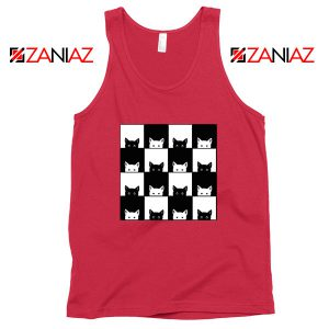 Black White Kittens Red Tank Top