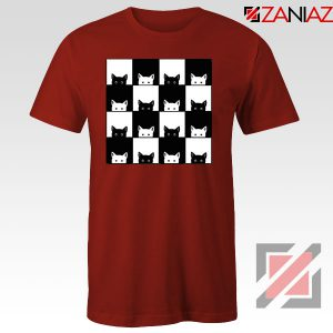 Black White Kittens Red Tshirt