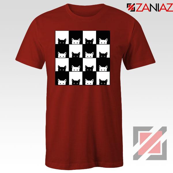 Black White Kittens Red Tshirt