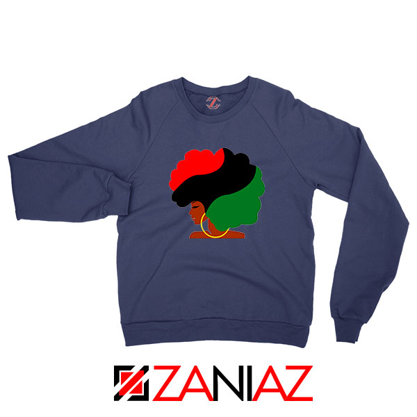 Black Woman Hair Navy Blue Sweatshirt