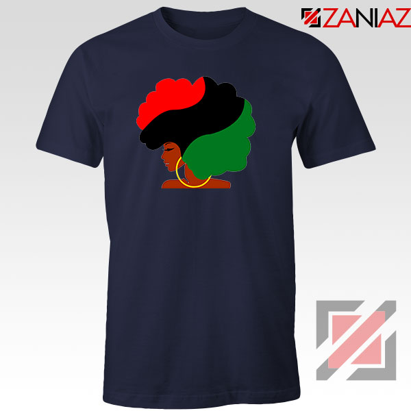 Black Woman Hair Red Tshirt
